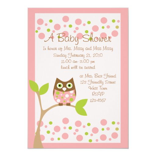 "Pink Owl Baby Shower Invitation 5"" X 7"" Invitation Card"