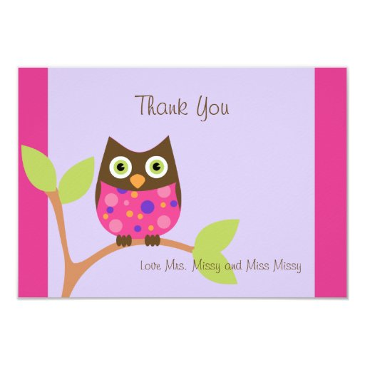 """Pink Owl Baby Shower Invitation-hotpink by request 3.5"""" X 5"""" Invitation Card"""