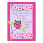 Pink Owl Baby Shower Invitation-hotpink by request