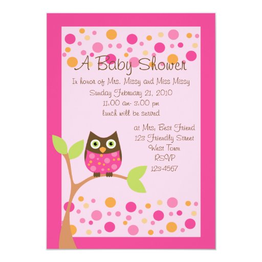 Pink Owl Baby Shower Invitation-hotpink by request 5x7 Paper Invitation Card