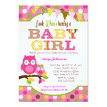"Pink Owl Baby Shower Invitations - Baby Girl 5"" X 7"" Invitation Card"