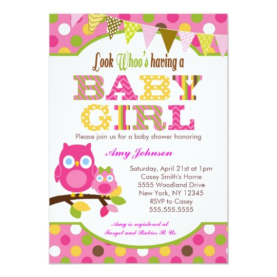 Pink Owl Baby Shower Invitations Baby Girl Zazzle Com
