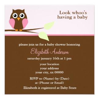 Pink Owl Baby Shower Invites