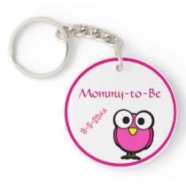 Pink Owl Baby Shower Keychain