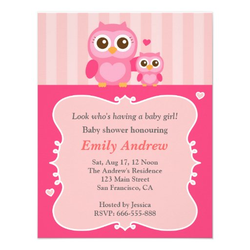 Pink owl baby shower, mummy and child announcement
