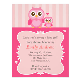 Pink owl baby shower, mummy and child card