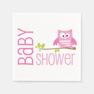 Pink Owl Baby Shower Napkin
