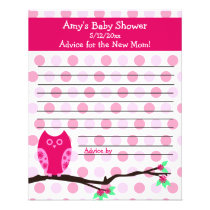 Pink Owl Baby Shower Personalized Advice Cards