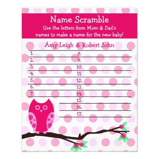 Pink Owl Baby Shower Personalized Game Flyers | Zazzle