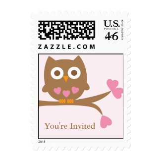 Pink Owl Baby Shower Postage stamp