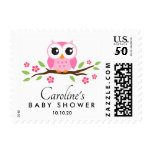 Pink owl baby shower postage with custom name
