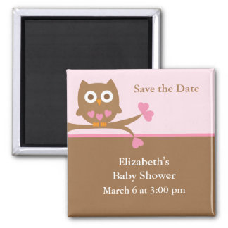 Pink Owl Baby Shower Save the Date Magnet