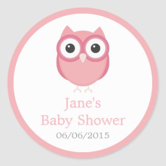 Pink owl baby shower stickers