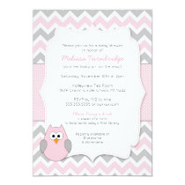 Pink Owl Baby Shower with book request Card