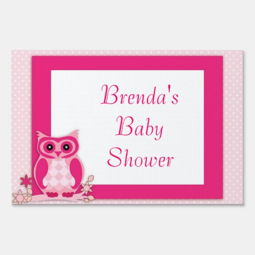 pink owl baby shower yard sign zazzle