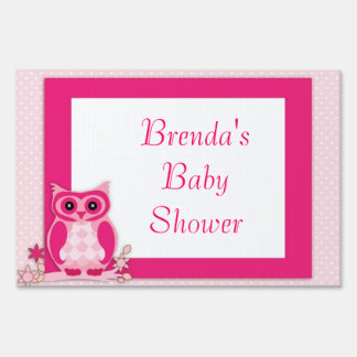 Pink Owl Baby Shower Yard Sign