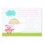 "Pink Owl Baby Sprinkle Invitation 5"" X 7"" Invitation Card"
