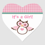 Pink Owl Baby Stickers