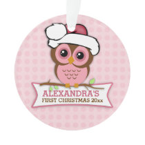 Pink Owl Baby's 1st Christmas Ornament