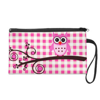 Pink Owl Wristlet Clutch