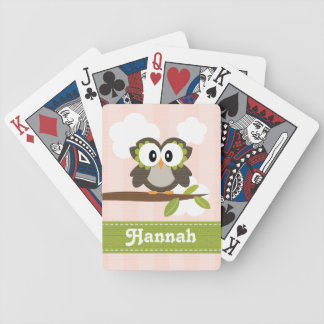 Pink Owl Bicycle® Playing Cards