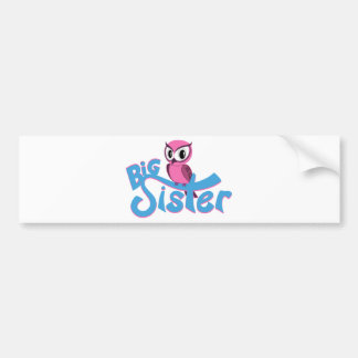 Pink Owl Big Sister Bumper Sticker