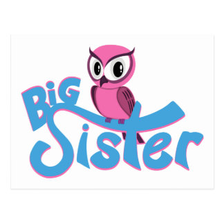 Pink Owl Big Sister Postcard