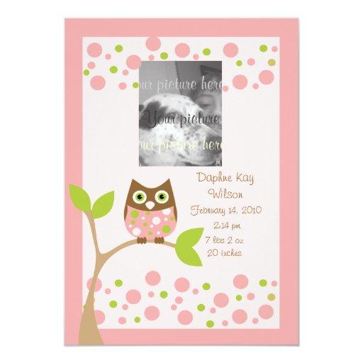 "Pink Owl Birth Announcment.. 5"" X 7"" Invitation Card"