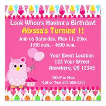 Pink Owl Birthday Invitation