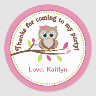 Pink Owl Birthday Party Favor Stickers