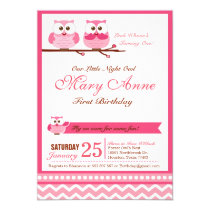 Pink Owl Birthday Party Invitation