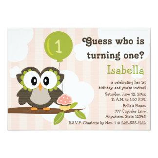 "Pink Owl Birthday Party Invitations (Any Age) 5"" X 7"" Invitation Card"