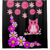 Pink owl black shower curtain