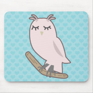 Pink Owl, Blue Heart Pattern Background Mouse Pad