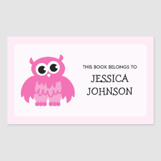 Pink owl book label stickers | School supplies