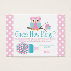 Pink Owl Bottle Baby Shower Guessing Game Business Card at Zazzle
