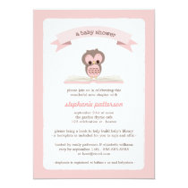 Pink Owl Bring a Book Baby Shower Invitation