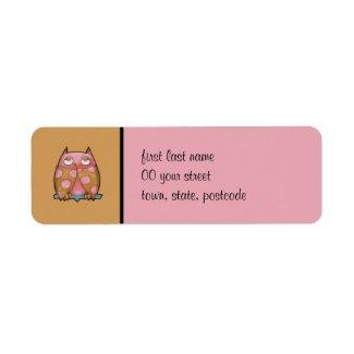 Pink Owl brown Return Address Label label
