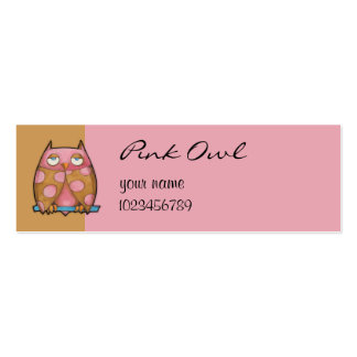 Pink Owl brown small Business Card