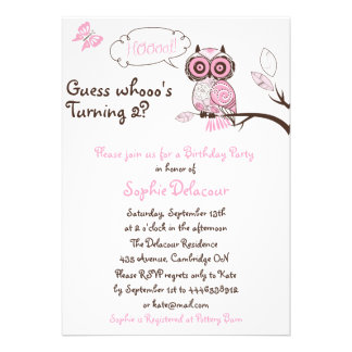 Pink Owl Butterfly Floral Birthday Invitation
