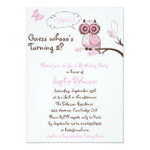 Pink Owl & Butterfly Floral Birthday Invitation