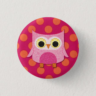 Pink Owl Button Pin