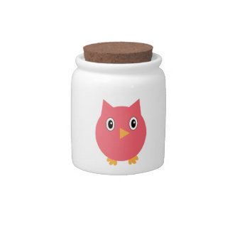 Pink Owl Candy Jar
