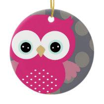 Pink Owl Ceramic Ornament
