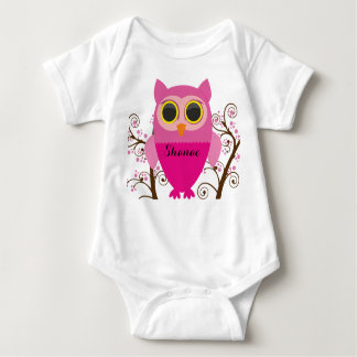 Pink Owl & Cherry Blossom Baby Shirt