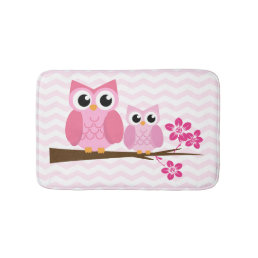 Pink Owl Chevron Bathroom Mat