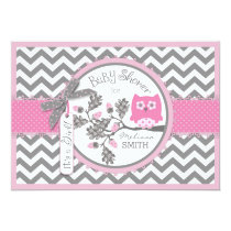 Pink Owl Chevron Print Baby Shower Card