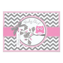 Pink Owl Chevron Print Baby Shower Card