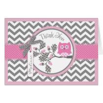 Pink Owl Chevron Print Thank You Card