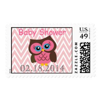 Pink Owl Chevron Zigzag Baby Shower Postage Stamps